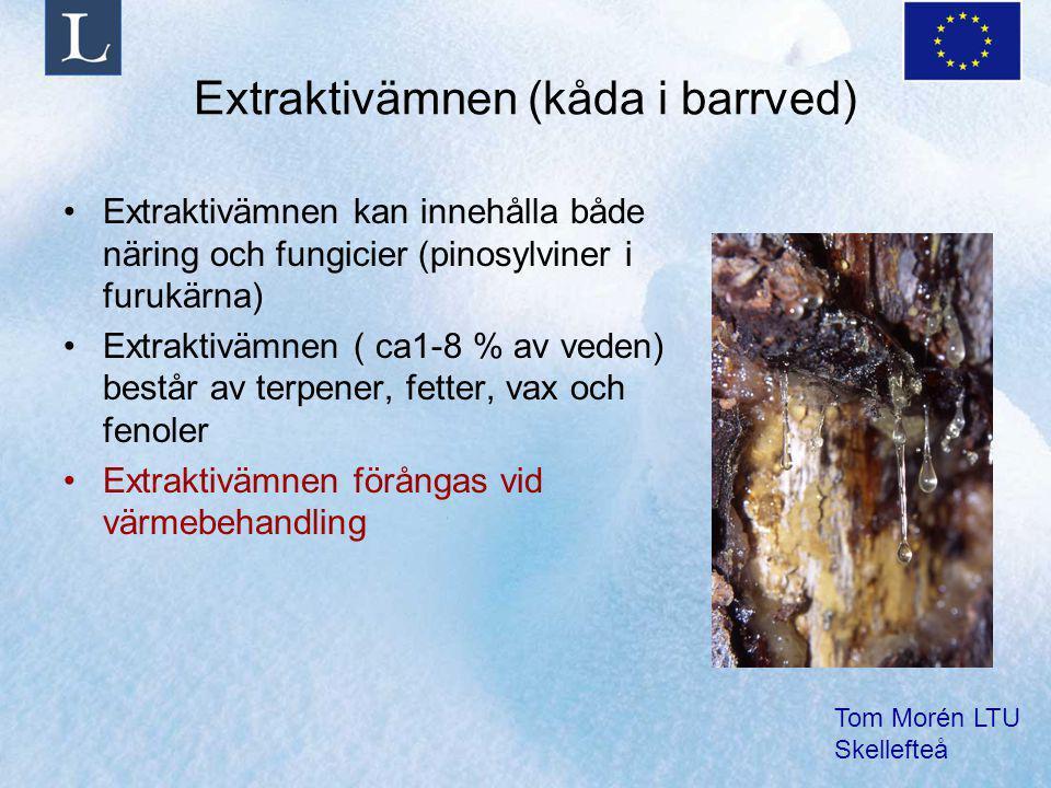 Tom Morén LTU Skellefteå Extraktivämnen (kåda i barrved) Extraktivämnen kan innehålla både näring och fungicier (pinosylviner i furukärna) Extraktivämnen ( ca1-8 % av veden) består av terpener, fetter, vax och fenoler Extraktivämnen förångas vid värmebehandling