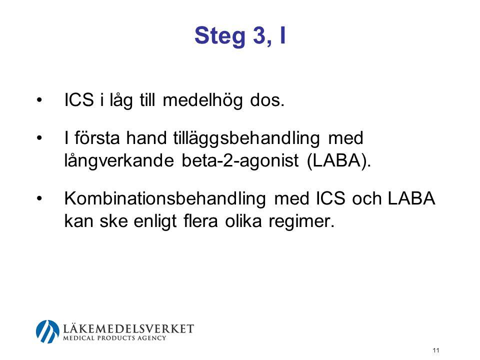 12 Steg 3, II ICS och LABA ges antingen i separata inhalatorer eller i samma inhalator (fast kombination).