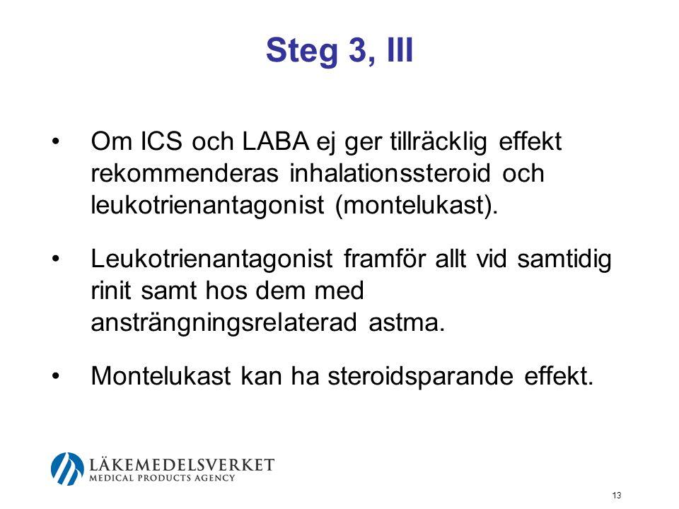 14 Steg 4 Leukotrienantagonist kan läggas till behandling med ICS eller till kombinationen ICS/LABA.