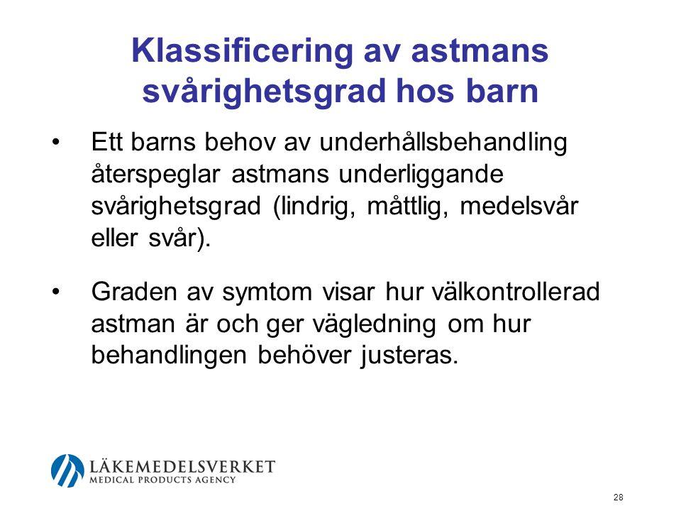 29 Klassificering av astmans svårighetsgrad hos barn