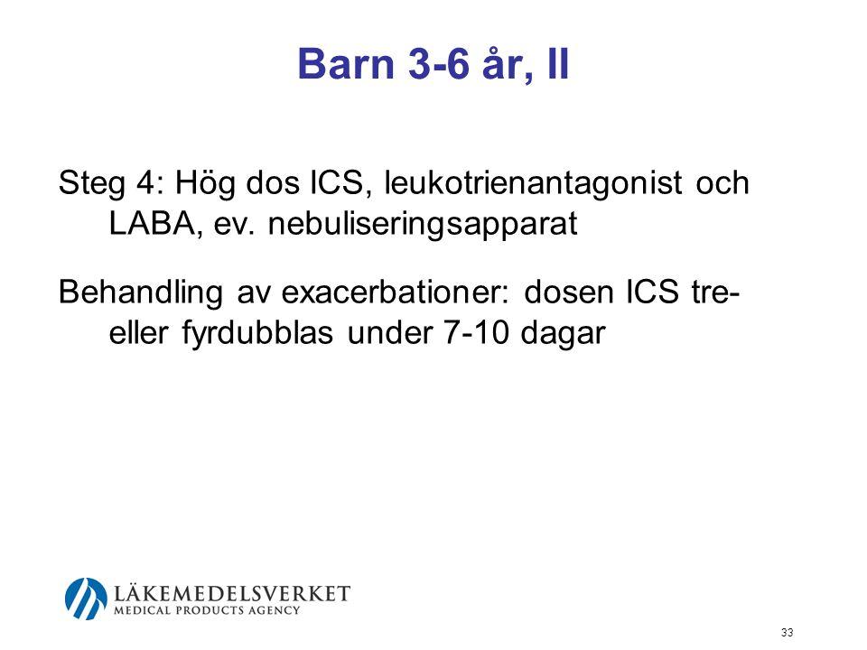 34 Barn från 7 år, I Steg 1-4: Kortverkande beta-2-agonist ges som inhalation vid besvär Steg 2: Kontinuerlig behandling med låg till medelhög dos ICS Steg 3: Kontinuerlig behandling med låg till medelhög dos ICS samt LABA och om behov leukotrienantagonist