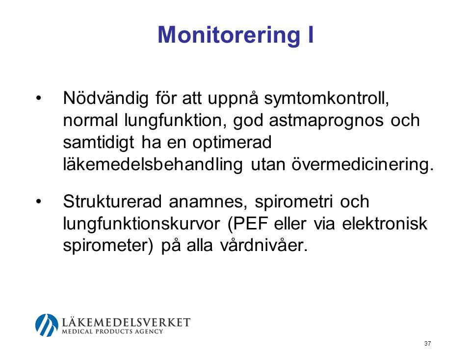 38 Monitorering II Patientmedverkan –Patientutbildning –Bärbar spirometer; PEF-mätare eller elektronisk minispirometer –Identifiering av astmaförsämrande situationer är värdefullt eftersom vissa bör undvikas, medan andra bör klaras med optimerad behandling.