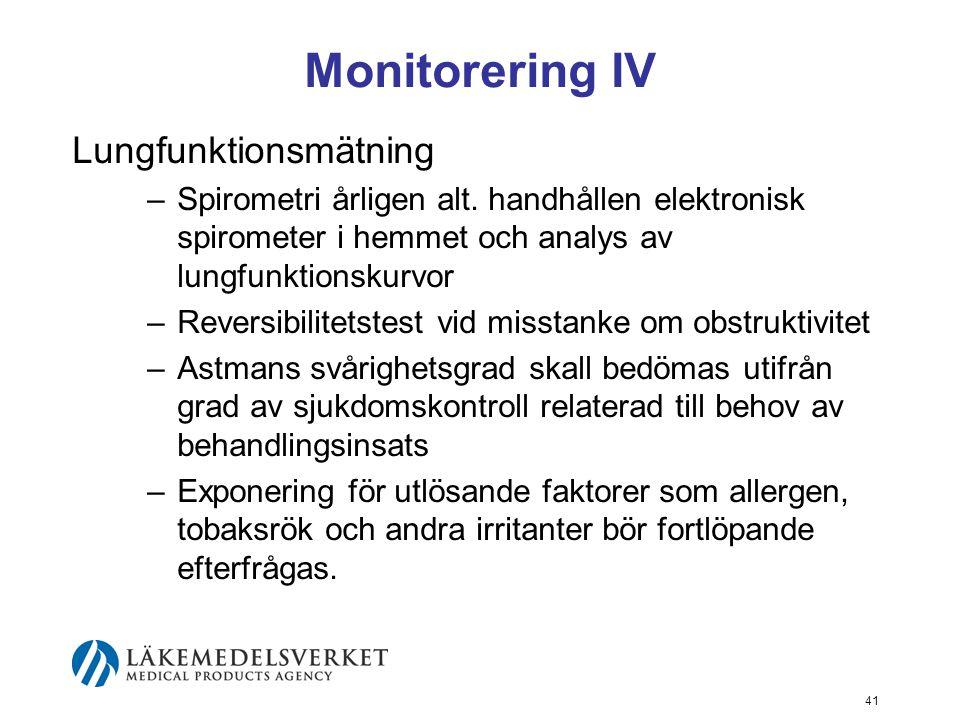 42 Grad av astmakontroll KarakteristikumFull kontroll Partiell kontroll Ingen kontroll Symtom dagtid≤ 2/vecka> 2/vecka> 2 karakteristika för partiell kontroll under någon vecka Begränsning av fysiska aktiviteter IngenNågon Symtom/uppvaknanden nattetidIngenNågra Behov av symtomatisk behandling ≤ 2/vecka> 2/vecka Lungfunktion (PEF eller FEV 1 )Normal< 80 % av beräknad Exacerbationer 1 Inga≥ 1/årEn under någon vecka 2 1 Lungfunktion är inget pålitligt mått för barn under sex års ålder.
