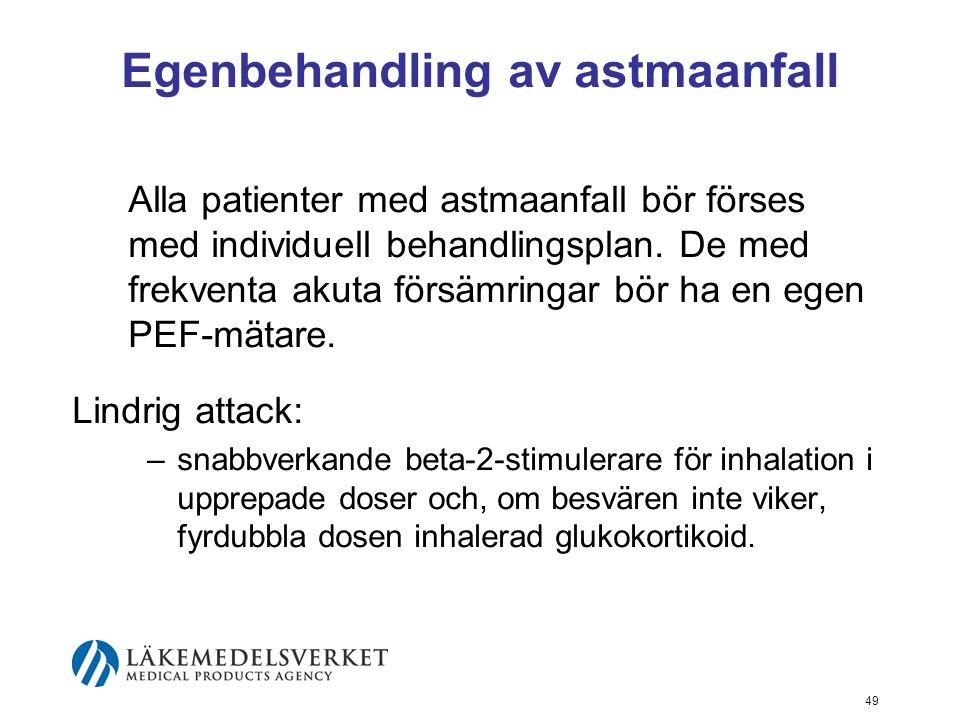 50 Egenbehandling av astmaanfall II Medelsvår astmaattack: –Peroral glukokortikoidbehandling påbörjas.