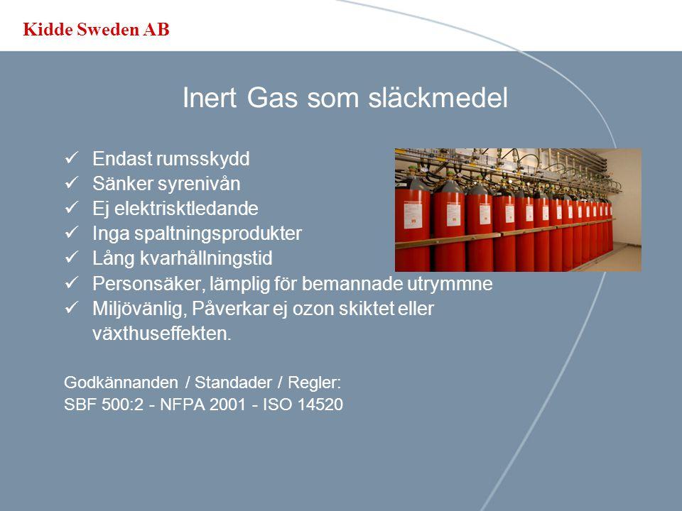 Kidde Sweden AB Vattendimma som släckmedel Brännbara vätskor Spraybränder Kyleffekt Effektiv på höga brand temperaturer Punktskydd - Ej lämpligt på telekom- / datarum- / server rum
