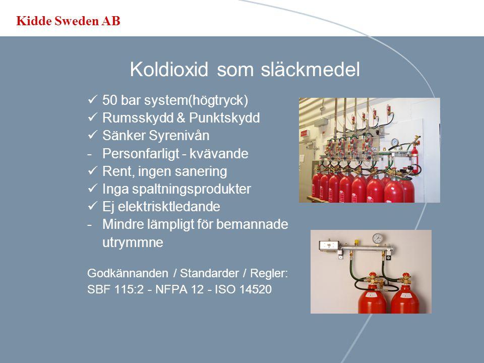 Kidde Sweden AB Inert Gas som släckmedel Endast rumsskydd Sänker syrenivån Ej elektrisktledande Inga spaltningsprodukter Lång kvarhållningstid Personsäker, lämplig för bemannade utrymmne Miljövänlig, Påverkar ej ozon skiktet eller växthuseffekten.