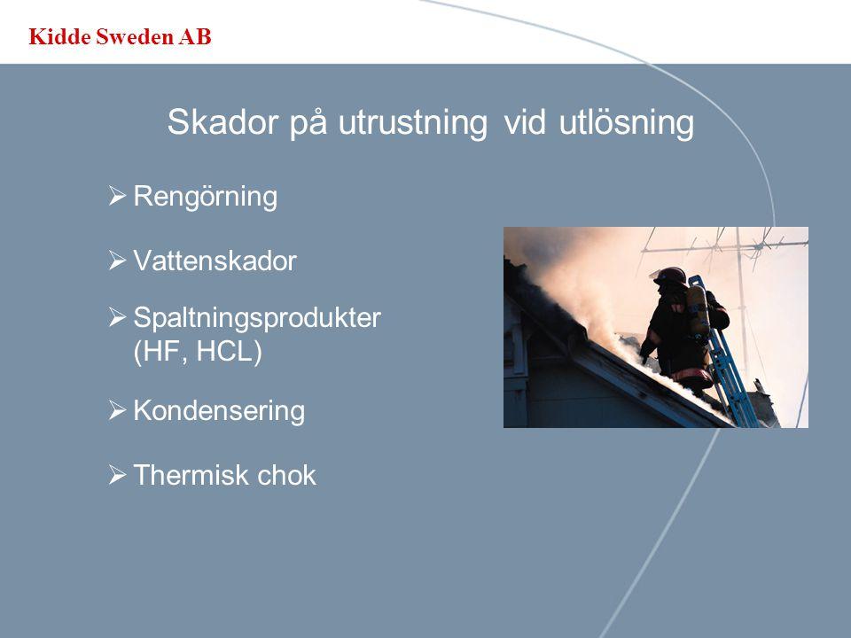 Kidde Sweden AB Släckanläggningens effektivitet  Släckhastighet  Egenskaper  Inblanding & inträngning I skåp  Hålltid  Återantänding