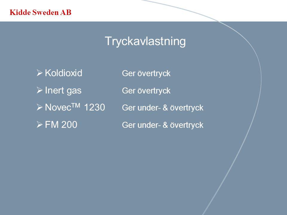 Kidde Sweden AB Tryckavlastning - några standarder  SBF 500:2 Inertgaser  SBF 115:2 / NFPA 12 Koldioxid  ISO14520 Koldioxid Inertgaser Kemiska släc