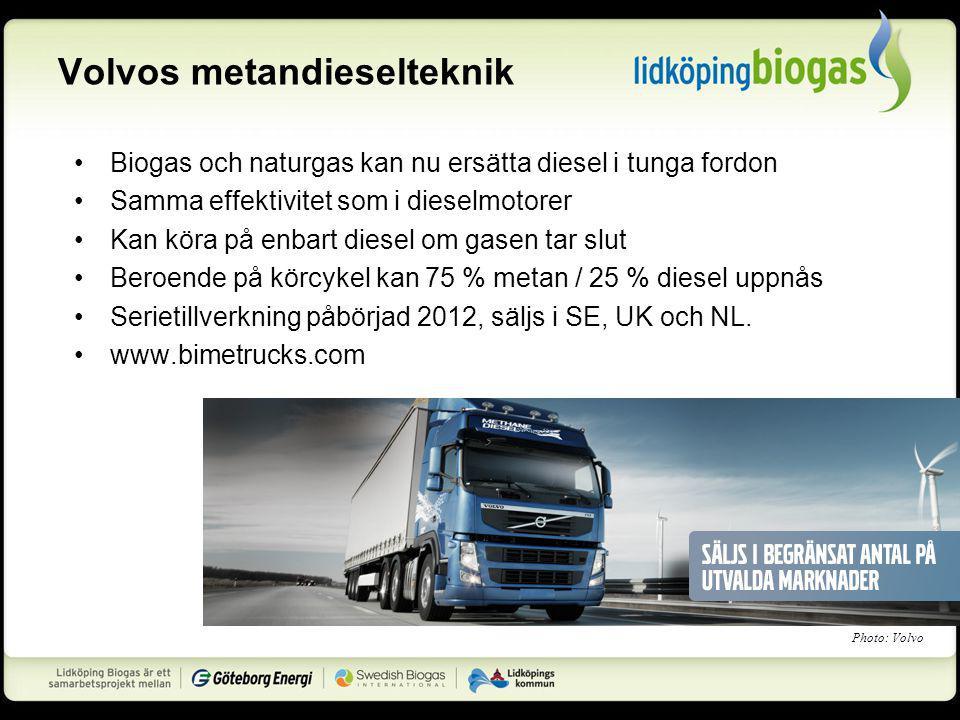 Volvos metandieselteknik Biogas och naturgas kan nu ersätta diesel i tunga fordon Samma effektivitet som i dieselmotorer Kan köra på enbart diesel om gasen tar slut Beroende på körcykel kan 75 % metan / 25 % diesel uppnås Serietillverkning påbörjad 2012, säljs i SE, UK och NL.
