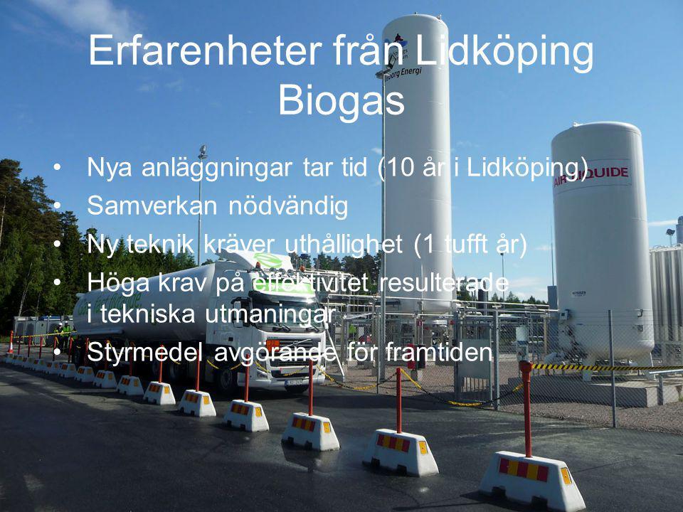 Erfarenheter från Lidköping Biogas Nya anläggningar tar tid (10 år i Lidköping) Samverkan nödvändig Ny teknik kräver uthållighet (1 tufft år) Höga krav på effektivitet resulterade i tekniska utmaningar Styrmedel avgörande för framtiden