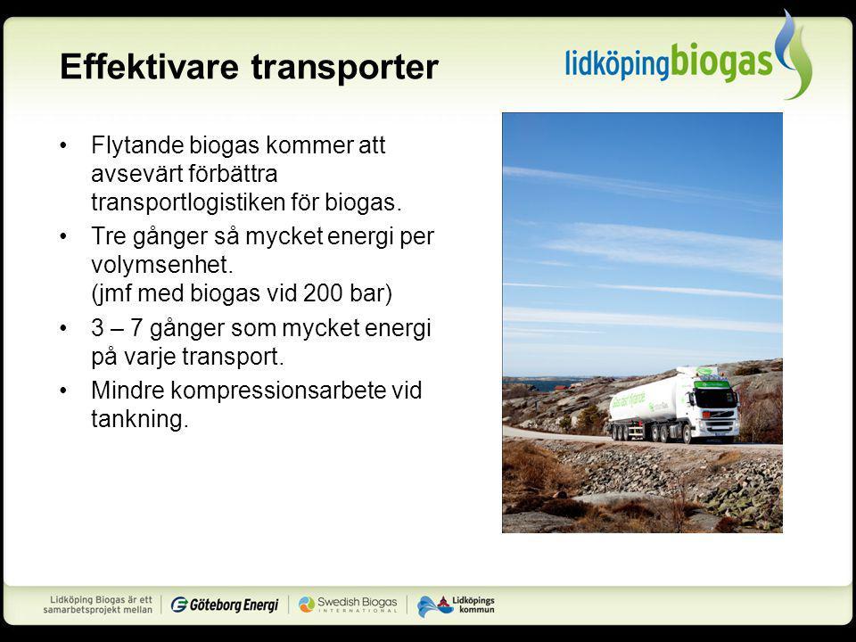 Effektivare transporter Flytande biogas kommer att avsevärt förbättra transportlogistiken för biogas.