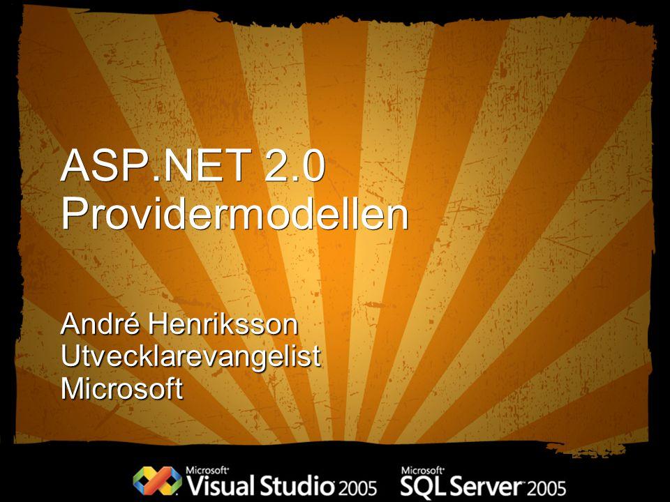 ASP.NET 2.0 Providermodellen André Henriksson UtvecklarevangelistMicrosoft
