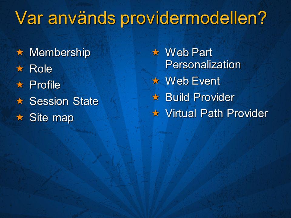 Var används providermodellen?  Membership  Role  Profile  Session State  Site map  Web Part Personalization  Web Event  Build Provider  Virtu