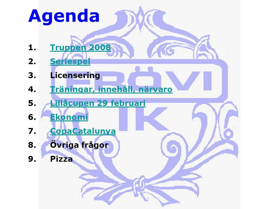 Agenda 1.Truppen 2008Truppen 2008 2.SeriespelSeriespel 3.Licensering 4.Träningar, innehåll, närvaroTräningar, innehåll, närvaro 5.Lillåcupen 29 februariLillåcupen 29 februari 6.EkonomiEkonomi 7.CopaCatalunyaCopaCatalunya 8.Övriga frågor 9.Pizza