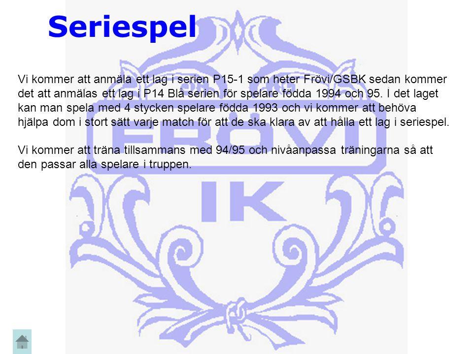 Seriespel Vi kommer att anmäla ett lag i serien P15-1 som heter Frövi/GSBK sedan kommer det att anmälas ett lag i P14 Blå serien för spelare födda 1994 och 95.