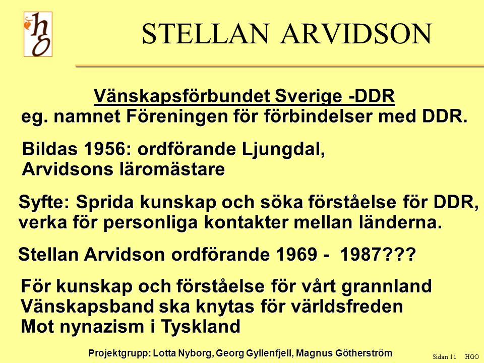 Sidan 11 HGO Projektgrupp: Lotta Nyborg, Georg Gyllenfjell, Magnus Götherström STELLAN ARVIDSON Vänskapsförbundet Sverige -DDR eg.