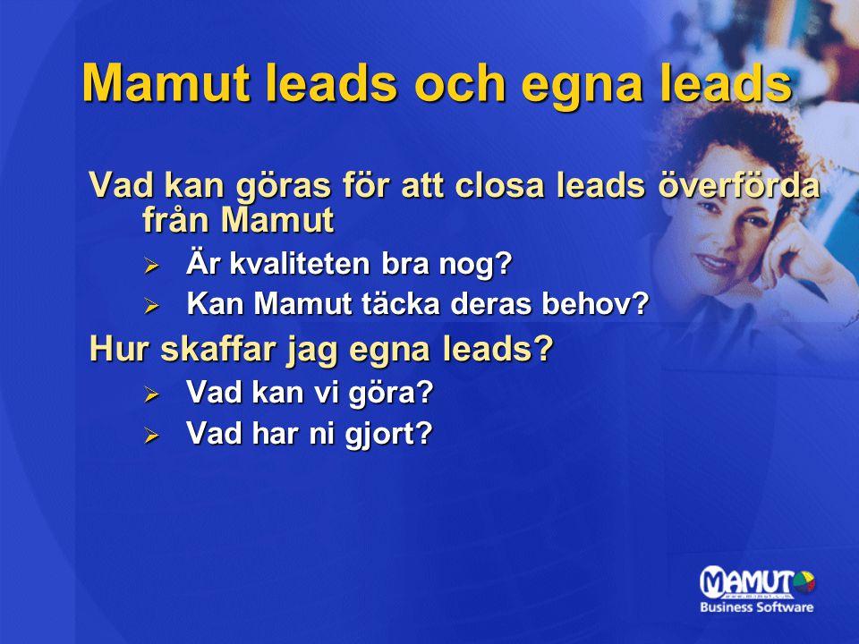 Mamut leads och egna leads Vad kan göras för att closa leads överförda från Mamut  Är kvaliteten bra nog.