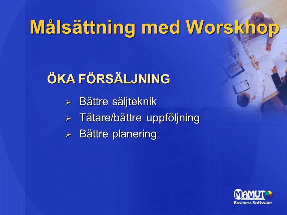 Målsättning med Worskhop ÖKA FÖRSÄLJNING  Bättre säljteknik  Tätare/bättre uppföljning  Bättre planering