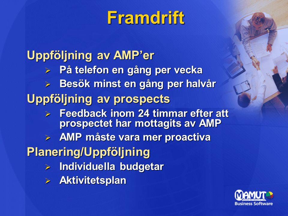 Framdrift Uppföljning av AMP'er  På telefon en gång per vecka  Besök minst en gång per halvår Uppföljning av prospects  Feedback inom 24 timmar efter att prospectet har mottagits av AMP  AMP måste vara mer proactiva Planering/Uppföljning  Individuella budgetar  Aktivitetsplan