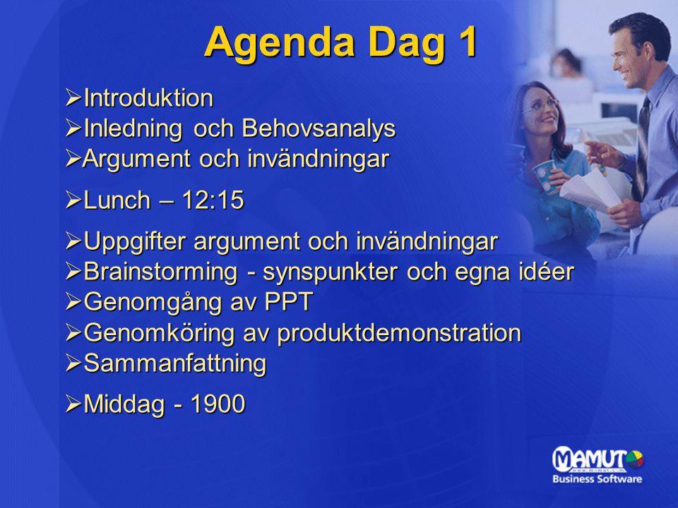 Agenda Dag 1  Introduktion  Inledning och Behovsanalys  Argument och invändningar  Lunch – 12:15  Uppgifter argument och invändningar  Brainstorming - synspunkter och egna idéer  Genomgång av PPT  Genomköring av produktdemonstration  Sammanfattning  Middag - 1900