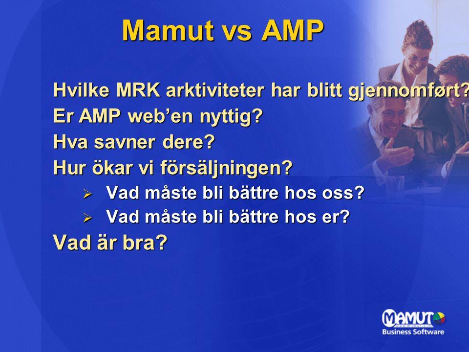 Hvilke MRK arktiviteter har blitt gjennomført. Er AMP web'en nyttig.
