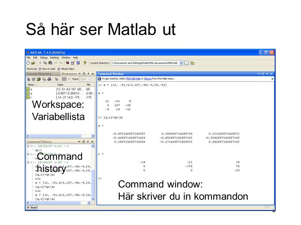 6 Fler MATLAB-fönster som kan öppnas Figure window M-file editor Array editor