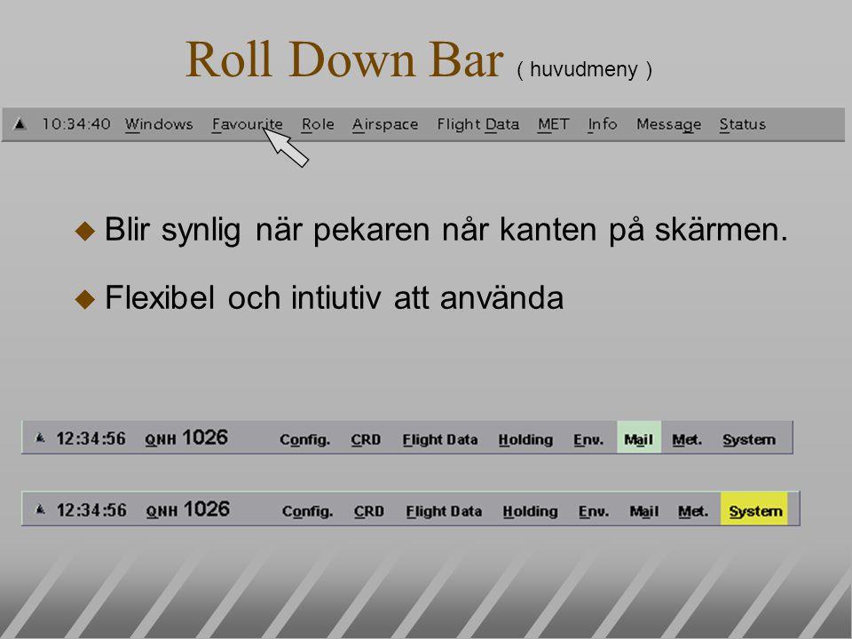 Roll Down Bar ( huvudmeny ) u Blir synlig när pekaren når kanten på skärmen. u Flexibel och intiutiv att använda