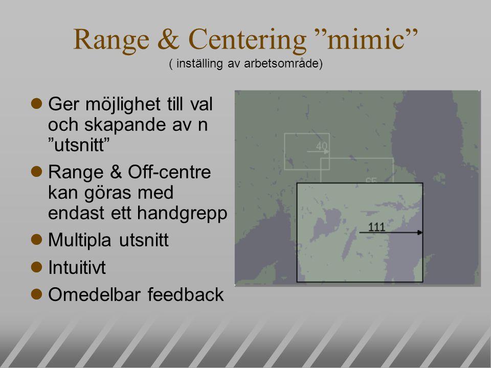 Range & Centering mimic ( inställing av arbetsområde) lGer möjlighet till val och skapande av n utsnitt lRange & Off-centre kan göras med endast ett handgrepp lMultipla utsnitt lIntuitivt lOmedelbar feedback