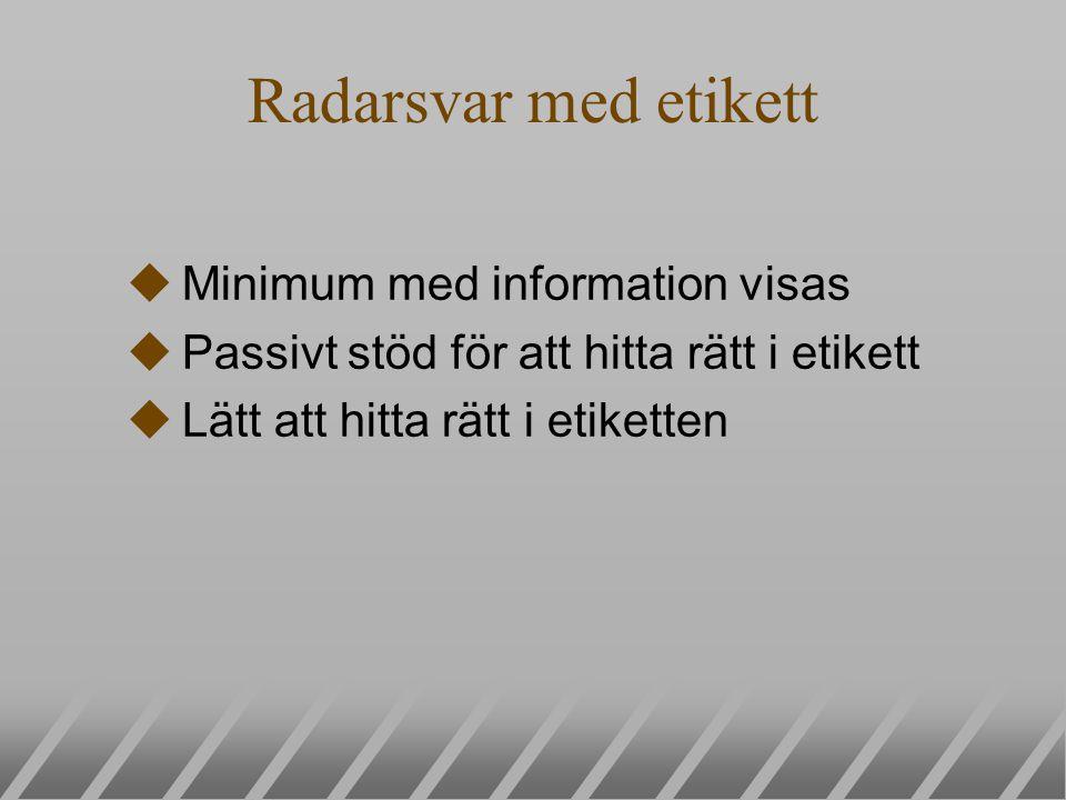Radarsvar med etikett uMinimum med information visas uPassivt stöd för att hitta rätt i etikett uLätt att hitta rätt i etiketten