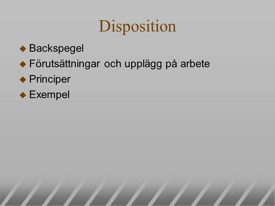 Disposition u Backspegel u Förutsättningar och upplägg på arbete u Principer u Exempel