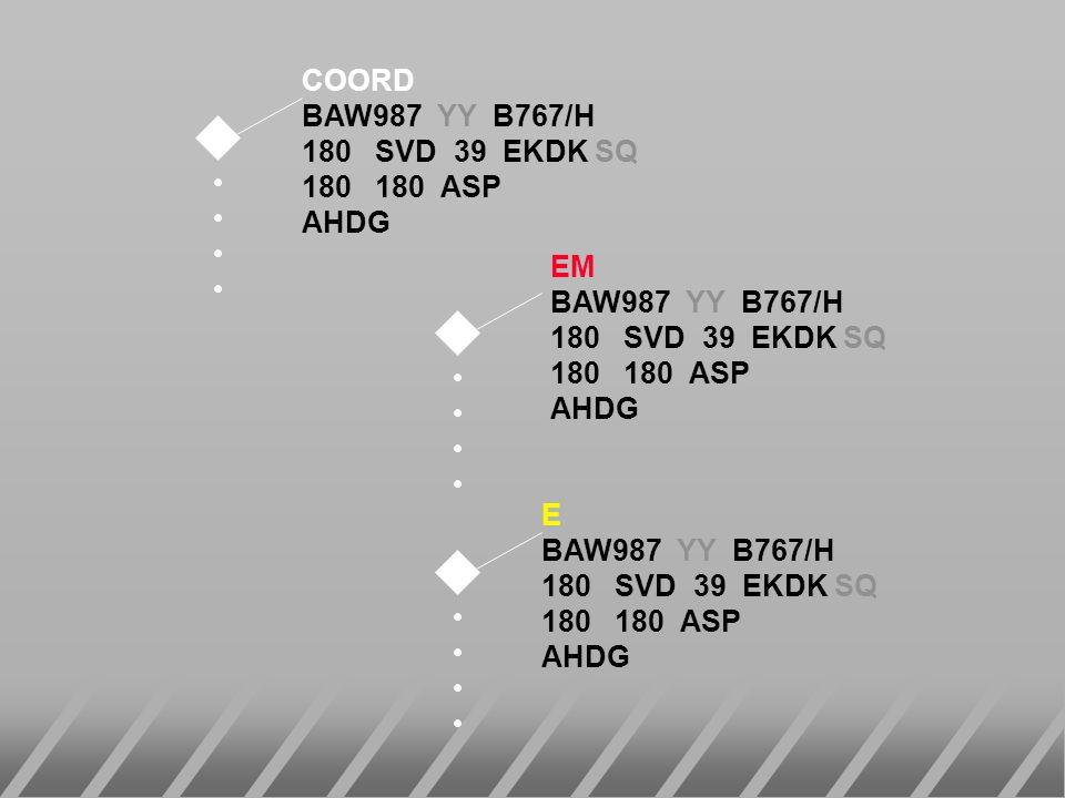 EM BAW987 YY B767/H 180 SVD 39 EKDK SQ 180 180 ASP AHDG COORD BAW987 YY B767/H 180 SVD 39 EKDK SQ 180 180 ASP AHDG E BAW987 YY B767/H 180 SVD 39 EKDK
