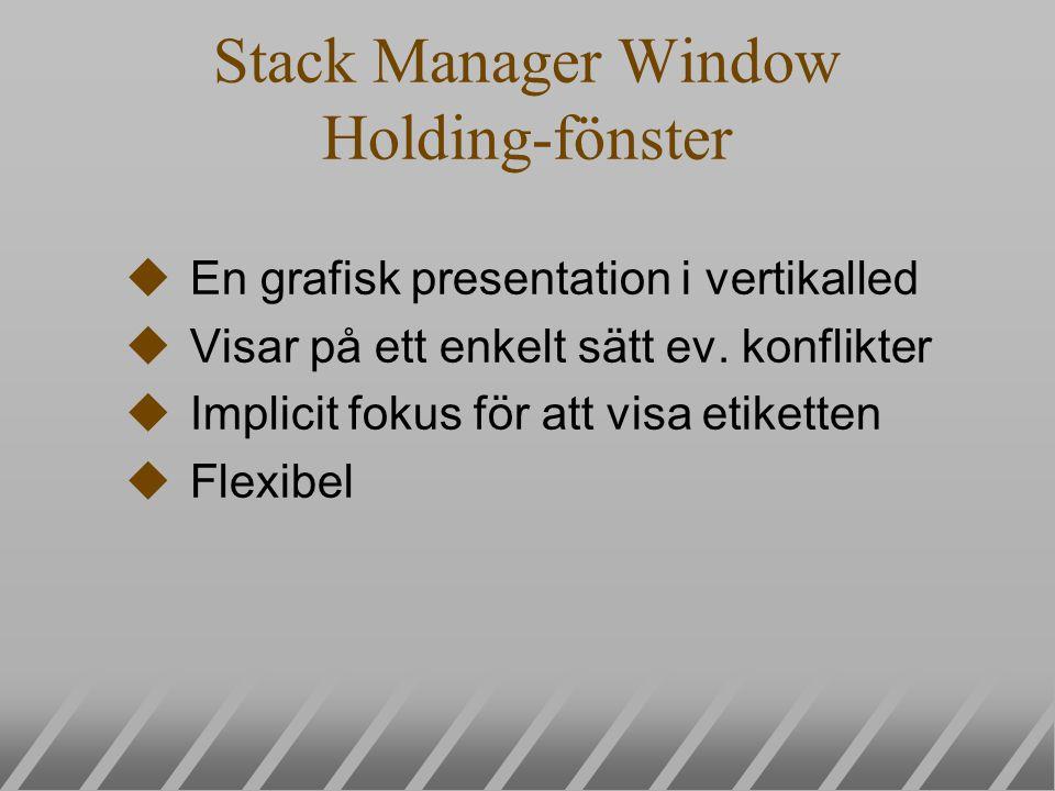 Stack Manager Window Holding-fönster uEn grafisk presentation i vertikalled uVisar på ett enkelt sätt ev. konflikter uImplicit fokus för att visa etik