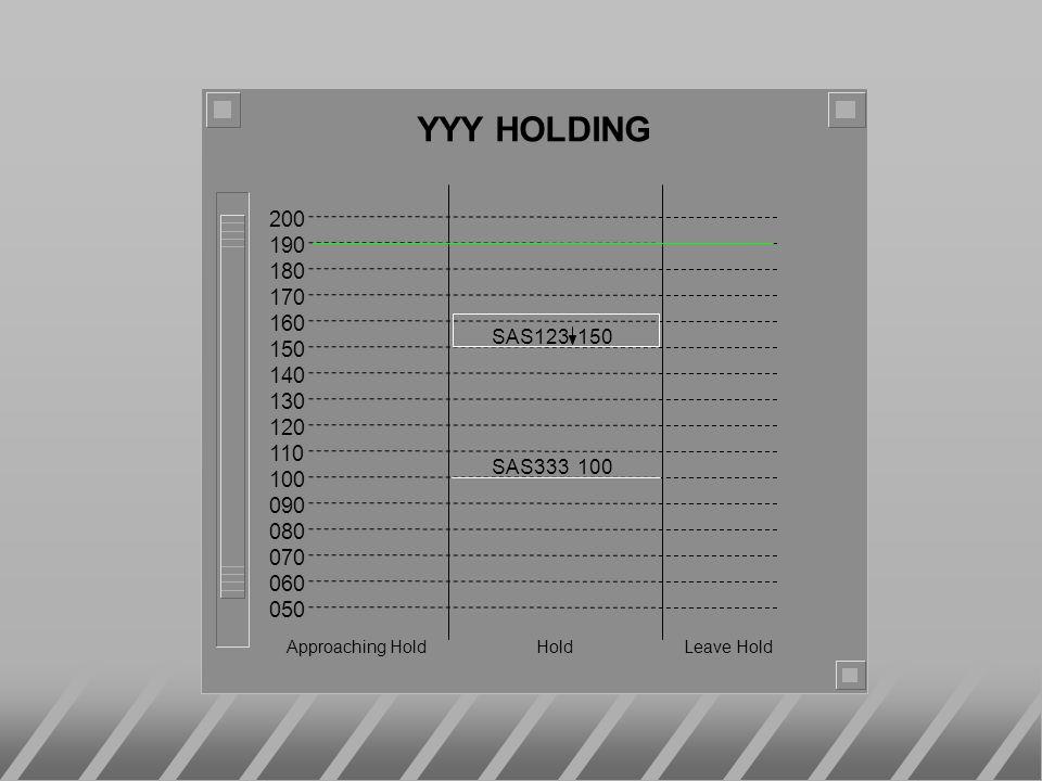 200 190 180 170 160 150 140 130 120 110 100 090 080 070 060 050 YYY HOLDING Approaching Hold Hold Leave Hold SAS123 150 SAS333 100
