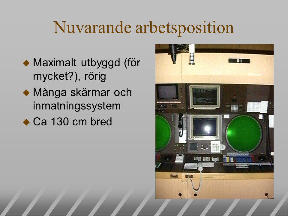 Nuvarande arbetsposition u Maximalt utbyggd (för mycket?), rörig u Många skärmar och inmatningssystem u Ca 130 cm bred