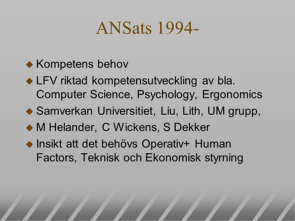 ANSats 1994- u Kompetens behov u LFV riktad kompetensutveckling av bla. Computer Science, Psychology, Ergonomics u Samverkan Universitiet, Liu, Lith,