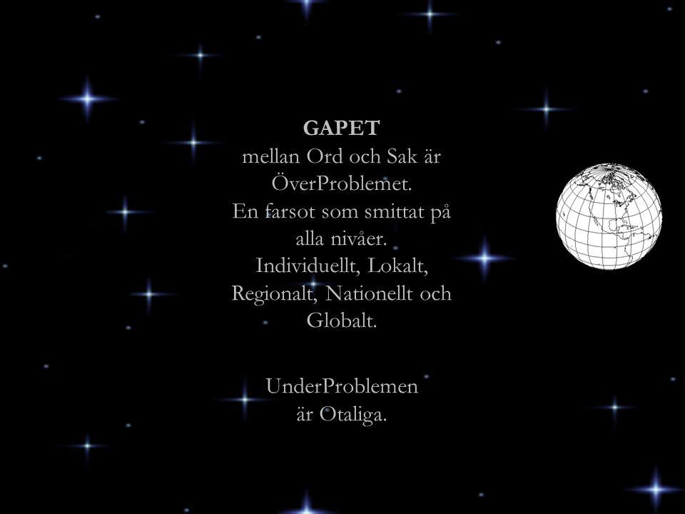 GAPET mellan Ord och Sak är ÖverProblemet. En farsot som smittat på alla nivåer. Individuellt, Lokalt, Regionalt, Nationellt och Globalt. UnderProblem
