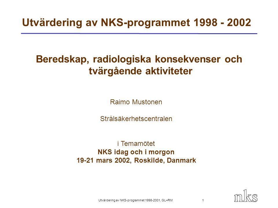 Utvärdering av NKS-programmet 1998-2001, GL+RM 22 Utvärdering av BOK-2 Mer heterogen projekt än BOK-1 BOK-2 har producerat ny kunskap om radionuklidernas beteende i miljön BOK-2 har utvecklat kompetensen i mätmetoder (ICP-MS, 99 Tc) Har utvecklat procedurer för beredskapssituationer (hellkropsmätningar) Har samlat ihop unga och äldre forskaren (kompetensbevarande och -utveckling) Ca.