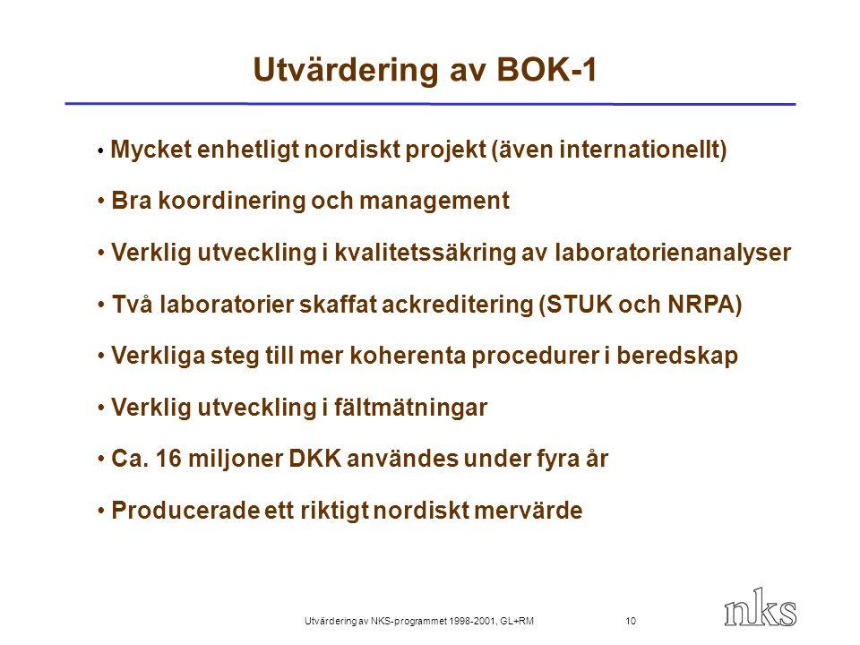 Utvärdering av NKS-programmet 1998-2001, GL+RM 10 Utvärdering av BOK-1 Mycket enhetligt nordiskt projekt (även internationellt) Bra koordinering och m