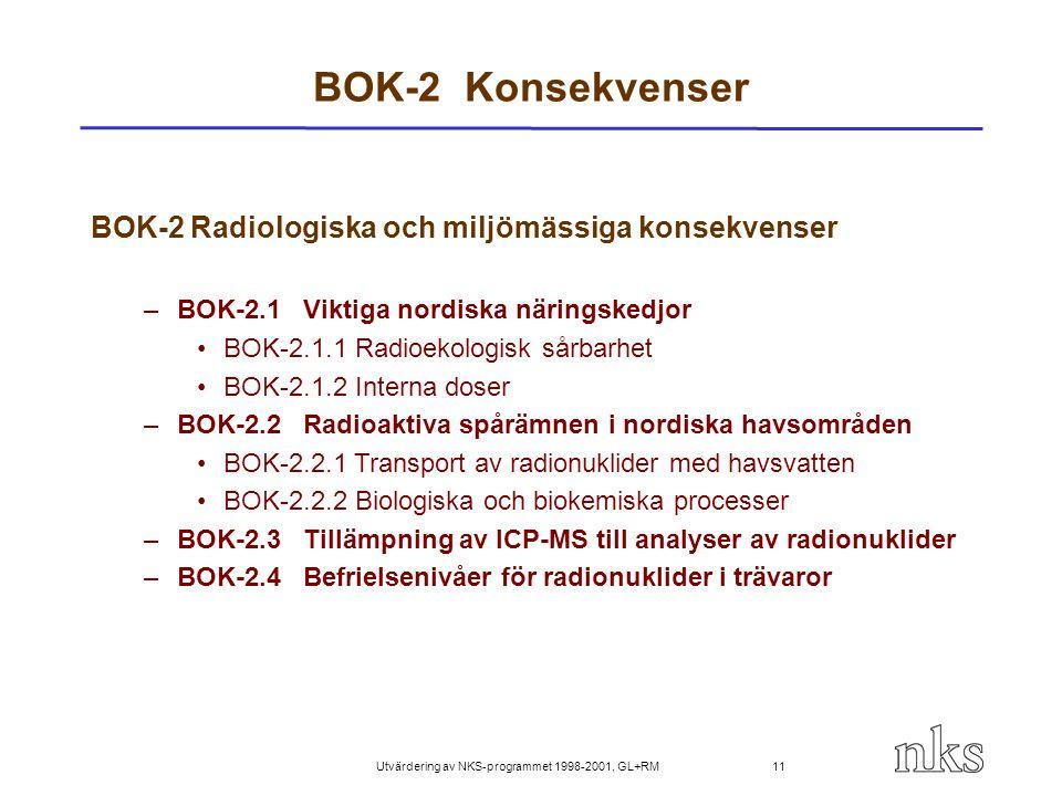 Utvärdering av NKS-programmet 1998-2001, GL+RM 11 BOK-2 Konsekvenser BOK-2 Radiologiska och miljömässiga konsekvenser –BOK-2.1Viktiga nordiska närings