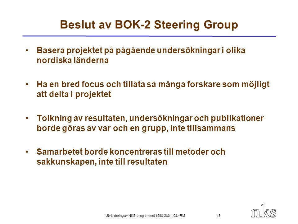 Utvärdering av NKS-programmet 1998-2001, GL+RM 13 Beslut av BOK-2 Steering Group Basera projektet på pågående undersökningar i olika nordiska länderna