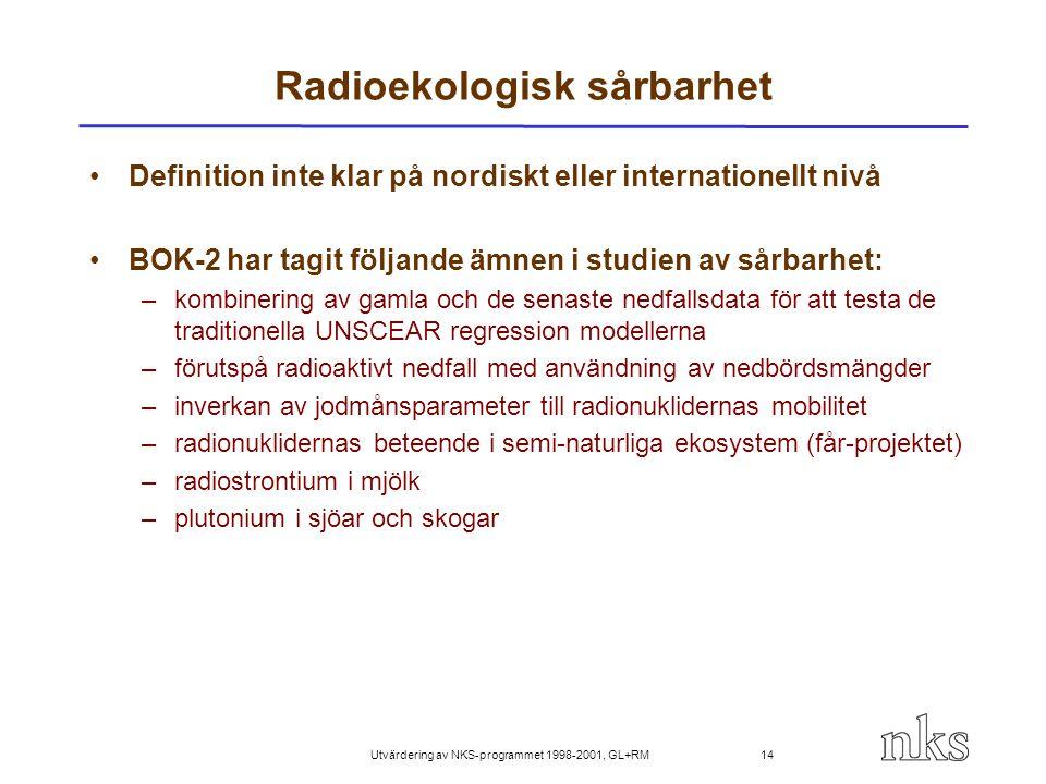 Utvärdering av NKS-programmet 1998-2001, GL+RM 14 Radioekologisk sårbarhet Definition inte klar på nordiskt eller internationellt nivå BOK-2 har tagit
