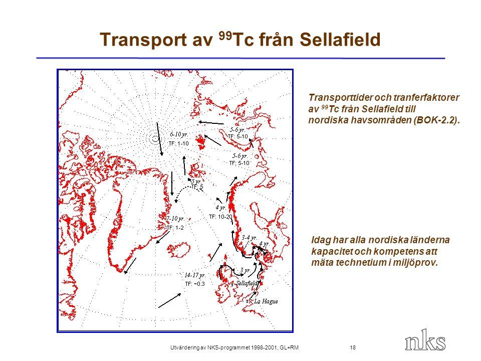 Utvärdering av NKS-programmet 1998-2001, GL+RM 18 Transport av 99 Tc från Sellafield Transporttider och tranferfaktorer av 99 Tc från Sellafield till