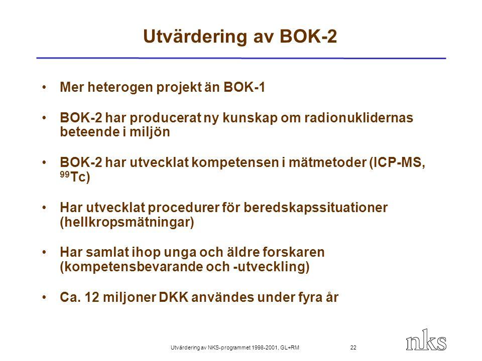 Utvärdering av NKS-programmet 1998-2001, GL+RM 22 Utvärdering av BOK-2 Mer heterogen projekt än BOK-1 BOK-2 har producerat ny kunskap om radionuklider