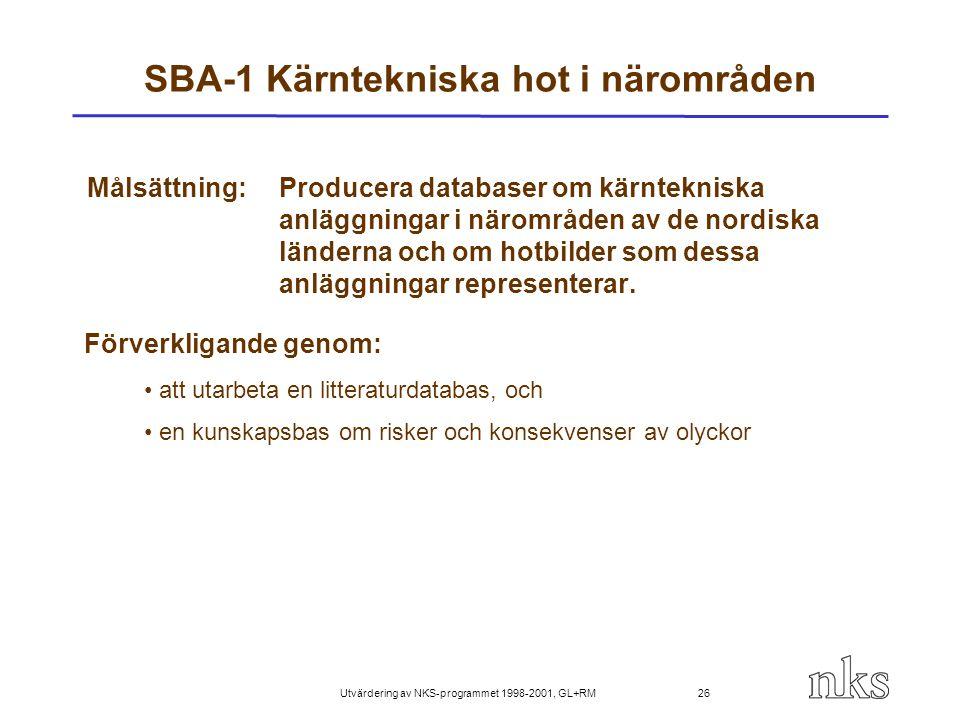 Utvärdering av NKS-programmet 1998-2001, GL+RM 26 SBA-1 Kärntekniska hot i närområden Målsättning:Producera databaser om kärntekniska anläggningar i n