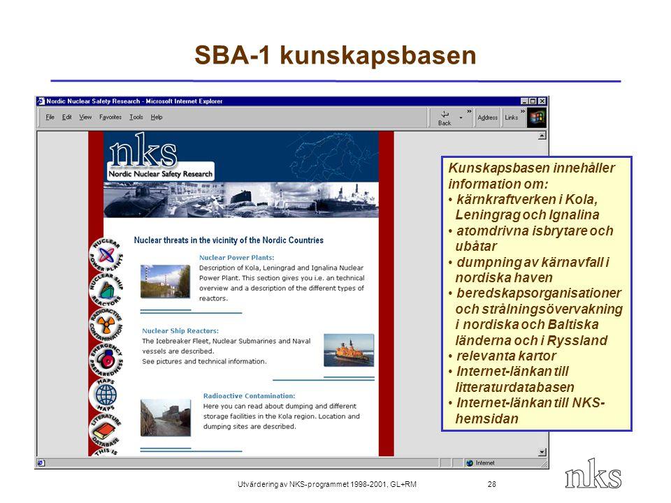 Utvärdering av NKS-programmet 1998-2001, GL+RM 28 SBA-1 kunskapsbasen Kunskapsbasen innehåller information om: kärnkraftverken i Kola, Leningrag och I