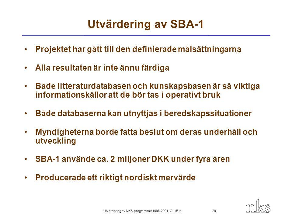 Utvärdering av NKS-programmet 1998-2001, GL+RM 29 Utvärdering av SBA-1 Projektet har gått till den definierade målsättningarna Alla resultaten är inte