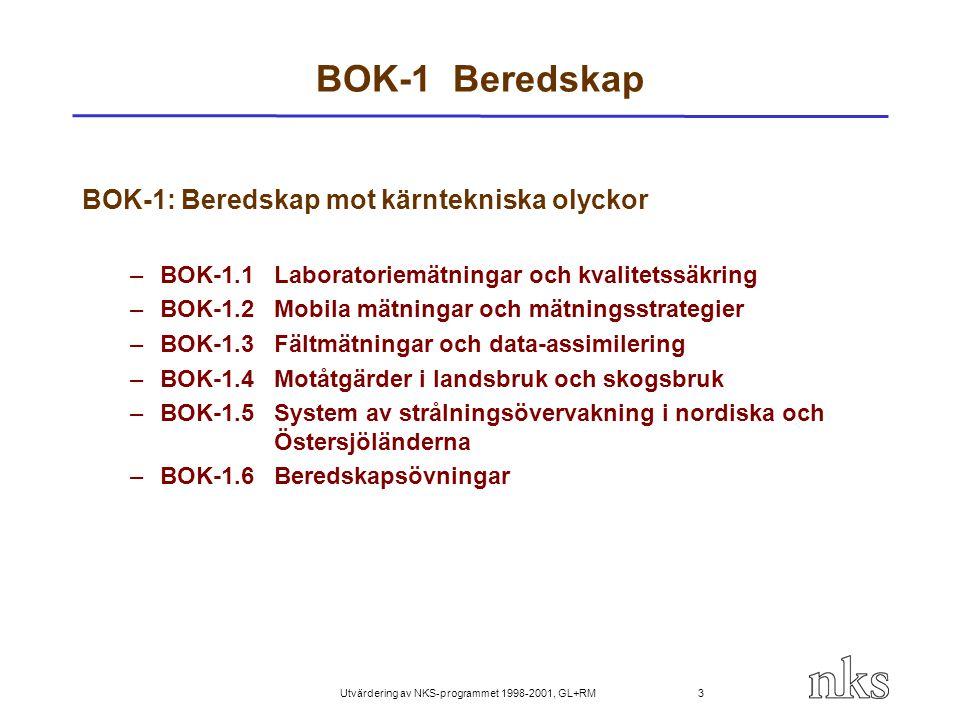 Utvärdering av NKS-programmet 1998-2001, GL+RM 4 BOK-1 Beredskap mot kärntekniska olyckor Målsättning: Befrämja nordisk samsyn och utveckla strategier och metoder - seminarier, workshop och träningskurser (5) - jämförelsemätningar av radionuklider (2) - jämförelser av använda software (2) - utredning av tekniker använda i laboratorier och provtagning - övningar (3) och fältmätningar, utveckling av gemensamma format - att stöda en Ph.D.