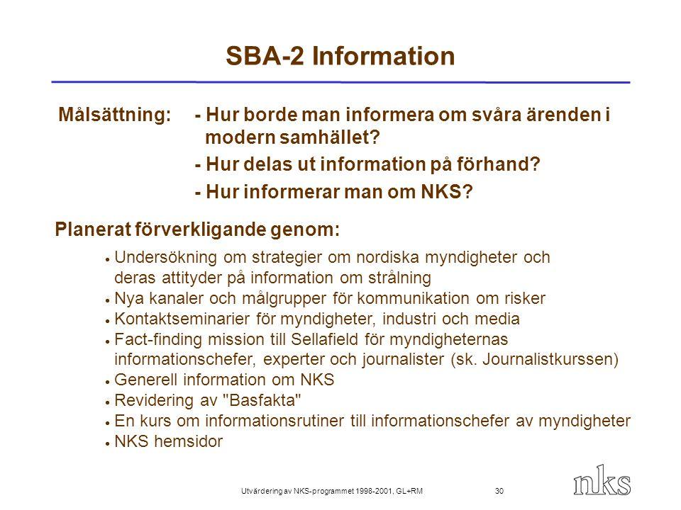 Utvärdering av NKS-programmet 1998-2001, GL+RM 30 SBA-2 Information Målsättning:- Hur borde man informera om svåra ärenden i modern samhället? - Hur d