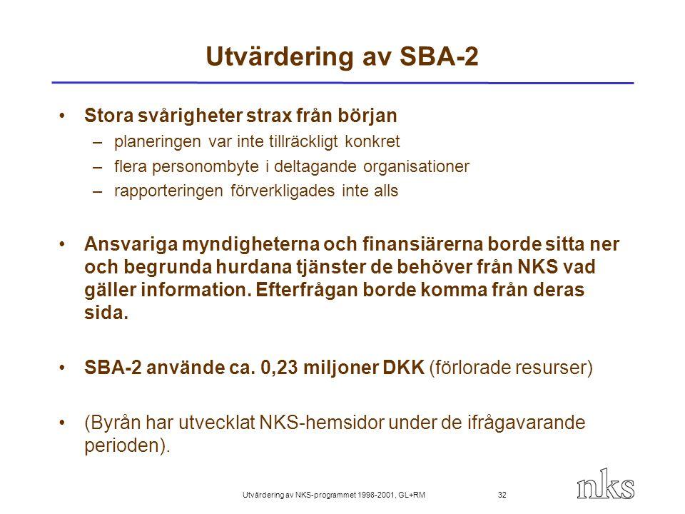 Utvärdering av NKS-programmet 1998-2001, GL+RM 32 Utvärdering av SBA-2 Stora svårigheter strax från början –planeringen var inte tillräckligt konkret