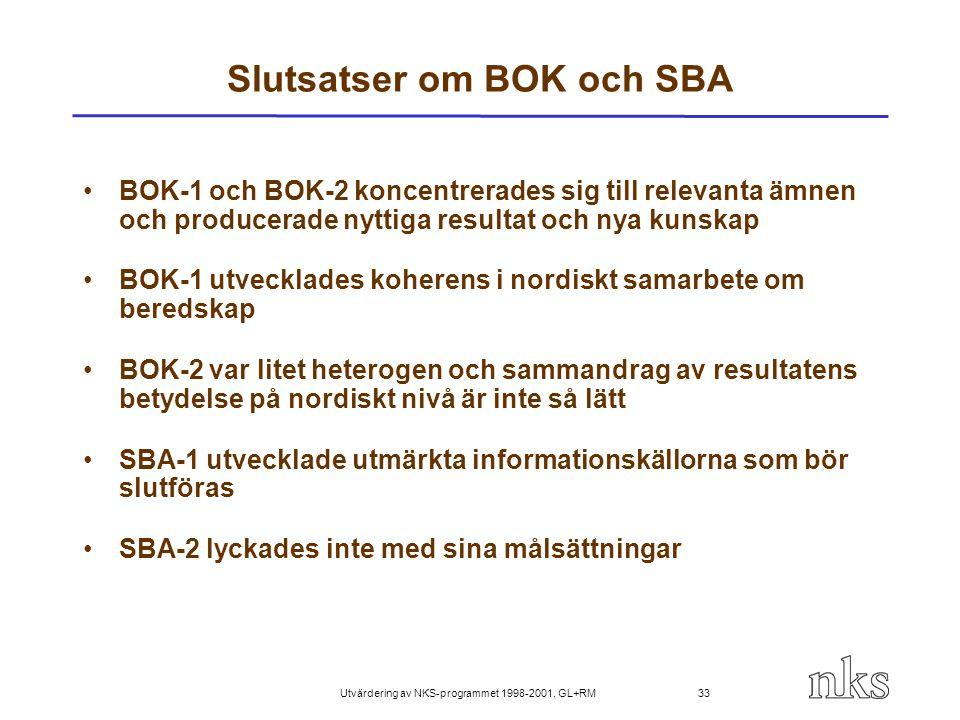 Utvärdering av NKS-programmet 1998-2001, GL+RM 33 Slutsatser om BOK och SBA BOK-1 och BOK-2 koncentrerades sig till relevanta ämnen och producerade ny
